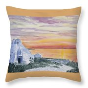 Watercolor - Mykonos Sunset Throw Pillow
