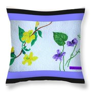 Watercolor Of Wild Flowers Throw Pillow