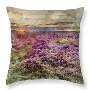 Watercolor Painting Of Beautiful Dawn Sunrise Landscape Image Of Heather On Higger Tor In Summer In  Throw Pillow