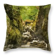 Watercolor Painting Of Beautiful Ethereal Landscape Of Deep Sided Gorge With Rock Walls And Stream F Throw Pillow