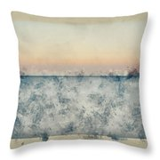Watercolor Painting Of Beautiful Seascape Image Of Calm Ocean At Sunset Throw Pillow