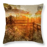 Watercolor Painting Of Beautiful Sunrise Landscape Over Foggy English Countryside With Glowing Sun Throw Pillow