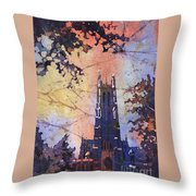Watercolor Painting Of Duke Chapel On The Duke University Campus Throw Pillow