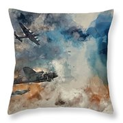 Watercolor Painting Of Flight Formation Of Battle Of Britain World War Two Consisting Of Lancaster B Throw Pillow