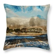 Watercolor Painting Of Fresh Winter Landscape Of Mountain Range And Forest Covered In Snow Throw Pillow