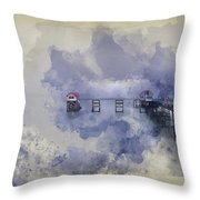 Watercolor Painting Of Landscape Of Victorian Pier With Moody Sk Throw Pillow