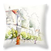 Watercolor Painting Of Monk Throw Pillow