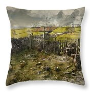 Watercolor Painting Of Public Footpath Signposts In Landscape In Throw Pillow
