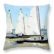 Watercolor Painting Of Small Dinghy Boats Throw Pillow