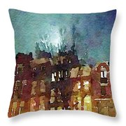 Watercolor Painting Of Spooky Houses At Night Throw Pillow