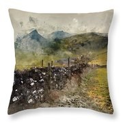 Watercolor Painting Of Stunning Landscape Of Chrome Hill And Parkhouse Hill Dragon's Back In Peak Di Throw Pillow