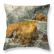Watercolor Painting Of Stunning Sunrise Landscape Of Land's End In Cornwall England Throw Pillow