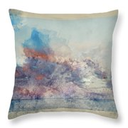 Watercolor Painting Of Stunning Sunset Cloud Formation Over Calm Sea Landscape Throw Pillow