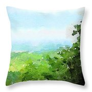Watercolor Painting Of The English Countryside Throw Pillow