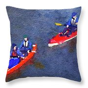 Watercolor Painting Of Two Canoes Throw Pillow