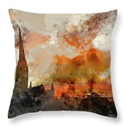 Watercolor Painting Of Winter Frosty Sunrise Landscape Salisbury Throw Pillow