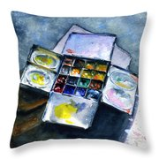 Watercolor Pallet Throw Pillow
