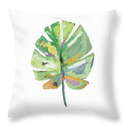 Watercolor Palm Leaf- Art By Linda Woods Throw Pillow by Linda Woods