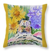 Watercolor - Pika With Wildflowers Throw Pillow by Cascade Colors