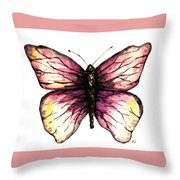 Watercolor Pink Butterfly Throw Pillow