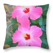 Watercolor Pink Hibiscus Blooms Vertical Throw Pillow