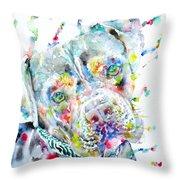 Watercolor Pit Bull.2 Throw Pillow