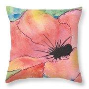 Watercolor Poppy Throw Pillow