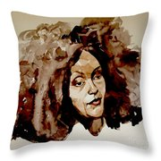 Watercolor Portrait Of A Woman With Bad Hair Day Throw Pillow