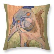 Watercolor Pug Throw Pillow