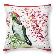 Watercolor - Rainbow Bearded Thornbill Throw Pillow