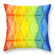 Watercolor Rainbow Pattern Geometric Shapes Triangles Throw Pillow