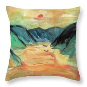Watercolor River Scenery Throw Pillow