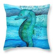 Watercolor Saehorse Throw Pillow