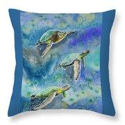 Watercolor - Sea Turtles Swimming Throw Pillow