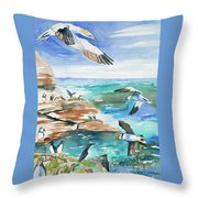 Watercolor - Seabirds Of The North Atlantic Throw Pillow