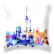 Watercolor Skyine Of Berlin, Germany Throw Pillow