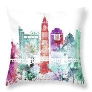 Watercolor Skyline Of Columbus, Ohio Throw Pillow