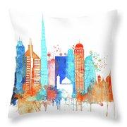 Watercolor Skyline Of Dubai Throw Pillow