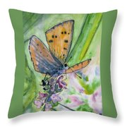 Watercolor - Small Butterfly On A Flower Throw Pillow