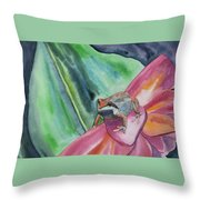 Watercolor - Small Tree Frog On A Colorful Flower Throw Pillow