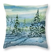 Watercolor - Snowy Winter Evening Throw Pillow