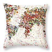 Watercolor Splashes World Map 2 Throw Pillow