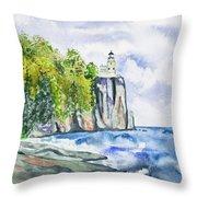 Watercolor - Split Rock Lighthouse Throw Pillow