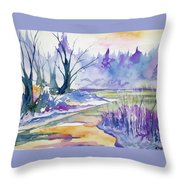 Watercolor - Stream And Forest Throw Pillow