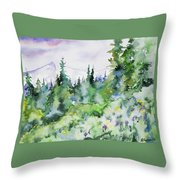 Watercolor - Summer In The Rockies Throw Pillow