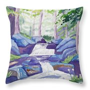Watercolor - Summer Mountain Forest And Stream Throw Pillow