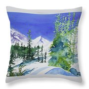 Watercolor - Sunny Winter Day In The Mountains Throw Pillow by Cascade Colors