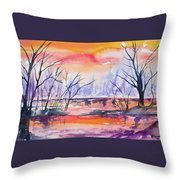 Watercolor - Sunrise At The Pond Throw Pillow