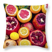 Watercolor Superfood Combo Throw Pillow by Celestial Images