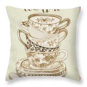 Watercolor Teacups-e Throw Pillow